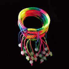 10 x Rainbow Macrame Multi-Coloured Braided Cord Thread Friendship Bracelets
