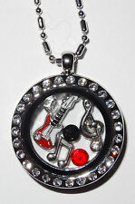Guitar Music Lover Chrome Charm Locket with Beaded Chain Fit Origami Owl Charms