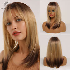 Fashion Golden Blonde Mixed Brown BoB Straight Hair Wigs with Bangs for Women