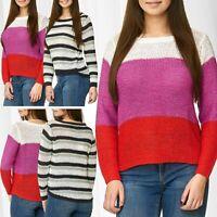 JDY Pull en tricot pour femme JDYMORE STRIPE à manches longues Chemise à rayures
