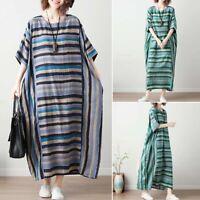 ZANZEA Womens Summer Striped Loose Beach Dress Kaftan Ladies Long Maxi Dresses