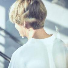 1pair KPOP BTS V Earrings Bangtan Boys V Stud Doulbe Ring Chain Earrings Xmas
