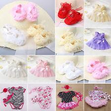 Infant Baby Newborn Girls Romper Jumpsuit Outfit Set/Tutu Dress/Grib Shoes 0-12M