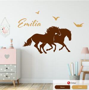 Horses Personalised Girls Wall Art Sticker Baby Nursery Vinyl Bedroom Decal