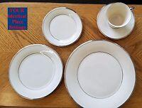 Lenox Solitaire white, platinum rim LOT of 4 place settings (20 pcs) XLNT Cond