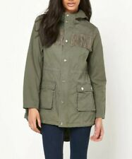 Lipsy Women Coat Parka 18 Green Khaki Tassel Hooded Zip Lined Autumn BNWT £85