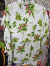 Lg Vintage Hawaiian White Shirt Island Pineapple Sailboat Palm Pineapple Moon