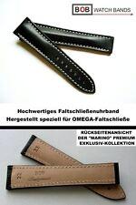 - BOB MARINO Handmade UHRENBAND kompatibel mit Omega-Faltschließe SCHWARZ 22/18