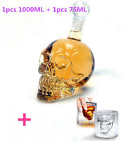 Crystal Skull Decanter Shot Glass Set Vodka Whiskey Wine Bottle Cup 1000ML+75ml