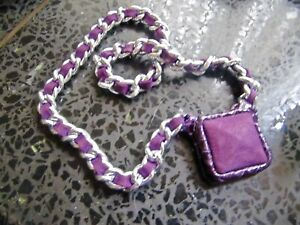 PURPLE SUEDE & SNAKE SKIN SQUARE PENDANT WITH ALUMINUM CHANEL CHAIN NECKLACE