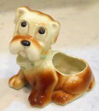 Vintage Puppy Dog Planter Vase Unmarked, Baby Nursery Decor Big Eyes Brown