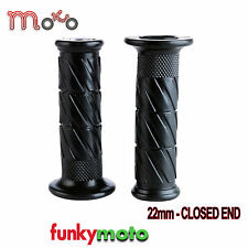 "MOTORCYCLE GRIP 22MM 25MM RUBBER BLACK MOTORBIKE 7/8"" UNIVERSAL BANDIT PAIR"