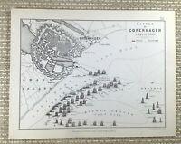 1855 Antico Militare Mappa Di Il Battle Copenhagen 1801 Britannico Marina Danese