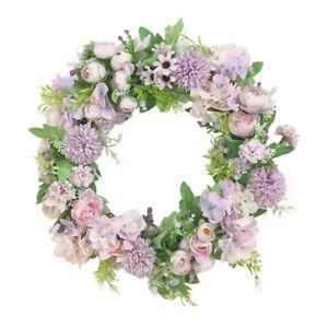 Artificial Peony Flower Wreath Hanging Garland, for Door Farmhouse Wall Indoor
