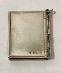 """Vintage Sterling Silver Book Style 2 Picture Locket Fob 1"""" Long"""