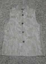 CHICO'S Asian Embroidered Theme Goldtone Brocade Vest Silk Blend Sz 1, MLP $109