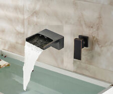 Oil Rubbed Bronze Waterfall Bathroom Basin Faucet Wall Mount Tub Sink Mixer Tap