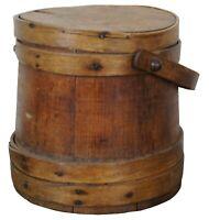 """Antique 19th Century Primitive Wooden Firkin Sugar Bucket Bail Basket 10"""""""