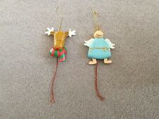 2 x Angel  and Rudolph Christmas Tree Decorations with Pull String Movement