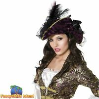Fever Marauding Pirate Hat Feathers Caribbean Women's Fancy Dress Costume