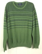 AMERICAN EAGLE Men's Green with Navy Striped Crew-Neck Sweater Size 2XL