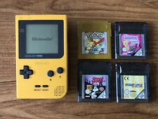 Nintendo Game Boy Pocket Yellow Handheld Console Bundle +4 Games