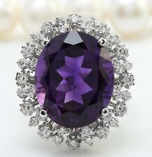 13.40 Quilate Natural Morado Amatista y Diamantes en 14K Macizo Blanco Anillo de
