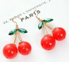 Lovely Red Cherry Fruit Ear Stud Crystal Rhinestone Fashion Charm Earrings Gift