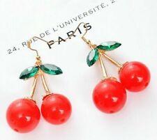 Lovely Red Cherry Fruit Ear Stud Crystal Rhinestone Fashion Charm Earrings Gift