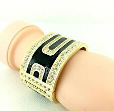 Crystal + Black Enamel Runway Cuff Bangle Bracelet, RRP £29.99