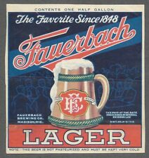 New listing 1/2 gal. Fauerbach Lager Beer Label, U-Permit, Irtp, Madison, Wi