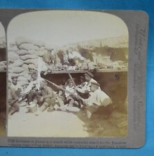 Stereoview 1905 Russian Japanese War Dinner In A Trench Port Arthur China