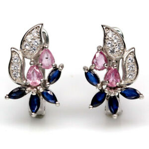 NATURAL HEATED BLUE SAPPHIRE WITH PINK RUBY & CZ EARRINGS 925 STERLING SILVER
