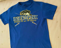 INC inc Born to fish forced to go to school Blue short sleeve T shirt size 8