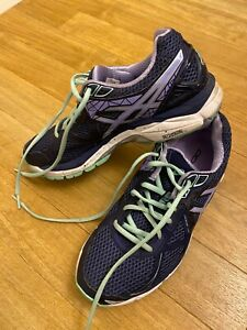 Asics GT 2000, ladies trainers, Blue with lilac and green size 6.5