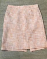 Banana Republic Size 4 Womens Orange White Peach Tweed Skirt Fully Lined