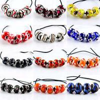 5 Pcs SILVER MURANO GLASS BEADS LAMPWORK Fit European Charm Bracelet Jewelry NEW