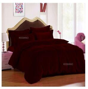 5 PC Maroon Plain Shimmer Velvet Duvet Cover Set Every Size (Twin/ Queen / King)