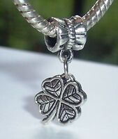 Lucky Four Leaf Clover Good Luck Dangle Charm for European Bead Slide Bracelets
