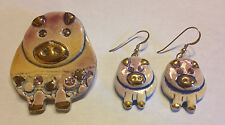 Pin Pink Piggy Gold Rhinestone Clay Hand Carved Painted Pig Set Earrings Brooch
