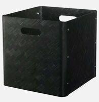 """Ikea BULLIG Bamboo Storage Box Home Decor 12 ½ x 13 ¾ x 13"""" Large Black - New"""