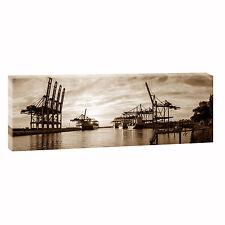 Hamburg Hafen se Bild Leinwand Poster Modern Design Panorama  150 cm* 50 cm 655