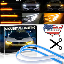 60CM LED DRL Strip Light Sequential Flowing Turn Signal White Amber Switchback