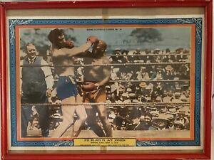 Vintage Boxing Picture Jess Willard Vs Jack Johnson Havana Cuba 1915 Framed