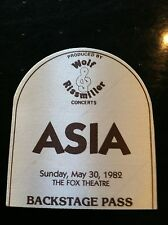 Asia Backstage Pass 1982 The Fox Theatre