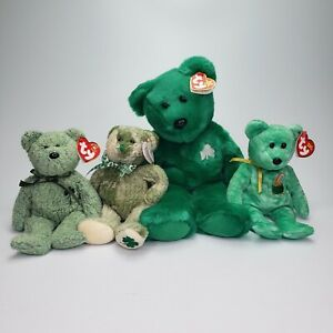 Ty Beanie Baby Lot of 4 St. Patrick's Day Bears Erin Killarney Shamrock McWooly