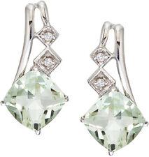 14k ORO BLANCO VERDE AMATISTA Y Diamante Pendientes (cm-e2808w-ga)