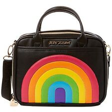 """NEW BETSEY JOHNSON Black/Multi """"CHOW BELLA RAINBOW"""" Lunch Tote - SALE"""