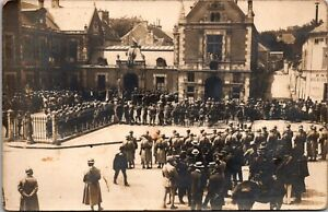 Vintage 1918 WWI France French German Soldiers Street View Real Photo Postcard