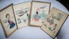 4 dessins 28 x 22 collés sur bois pour chambre d'enfants